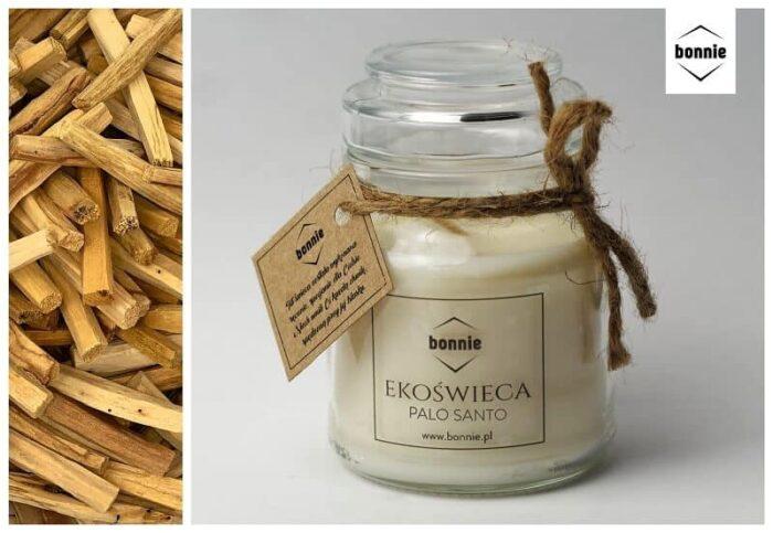 Sojowa świeca zapachowa marki Bonnie ze słoikiem premium i otwartym wieczkiem o zapachu palo santo