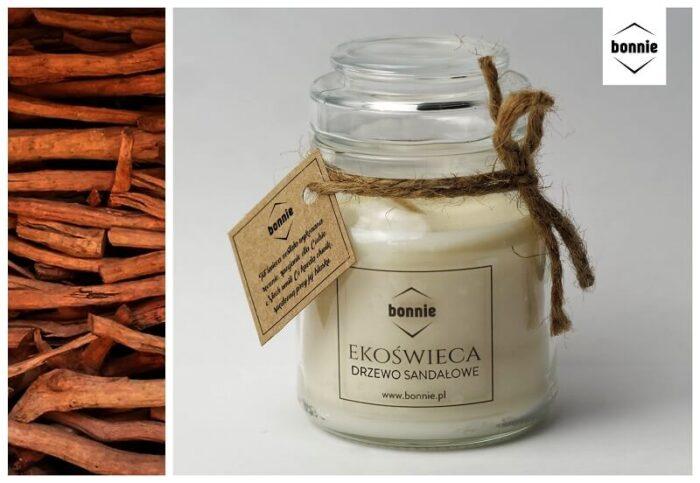 Zapachowa świeca sojowa marki Bonnie ze słoikiem premium i zamkniętym wieczkiem o zapachu drzewa sandałowego